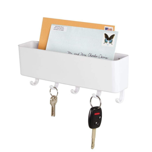 Mail Holder Key Rack Letter Home Organizer Wall Mount Coat Hook Storage White