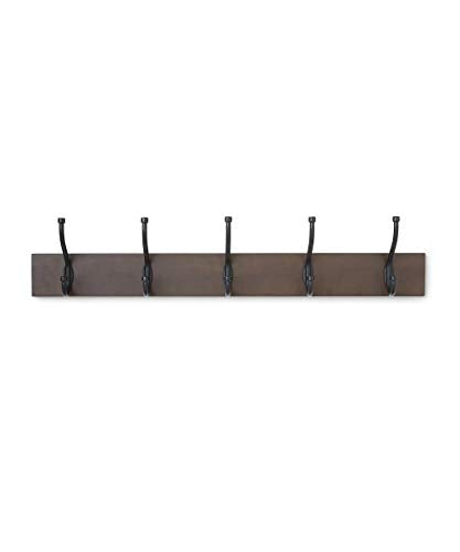 AmazonBasics Wall Mounted Standard Coat Rack, 5 Hooks, Espresso