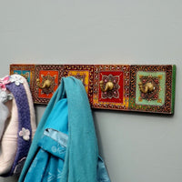 Hand Painted decorative five hook coat rack