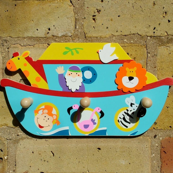 Noah's Ark Children's Coat Rack with three wood peg hooks