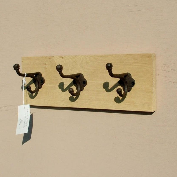 Natural Oak Panel Coat Rack with 3 Cast Iron Hooks