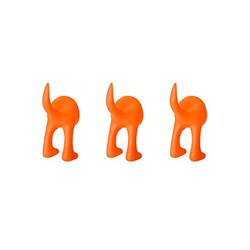 Ikea Set of 3 Dog Tail Hooks Hat Coat Key Wall Mounted Hanger (Orange)