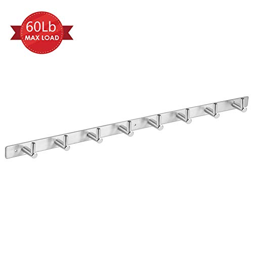 "Amzdeal Wall Mounted Coat Rack - 8 Pegs 24"" Modern Hook Rail for Clothes Caps Hats Belts Keys, Anti-Rust, Sturdy, Heavy Duty, 304 Stainless Steel, Silver, Can Hold 30kg"