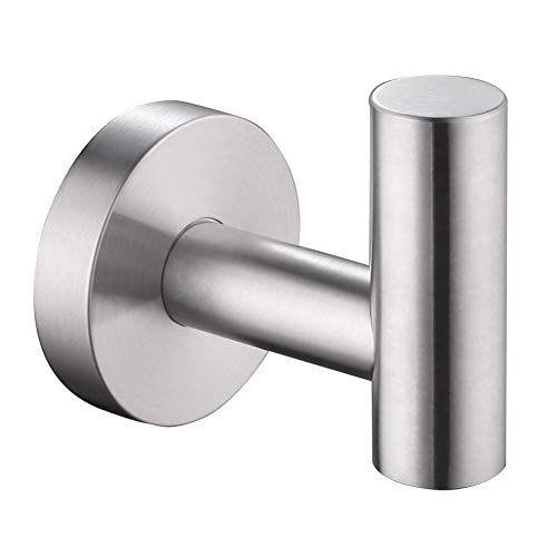 Bath Towel Hook Brushed, APLusee SUS304 Stainless Steel Bathroom Round Simple Coat Robe Holder, Modern Kitchen Toilet Home Storage Clothes Hanger