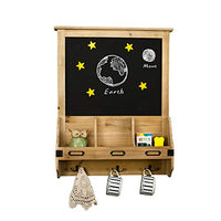 Whthteey Wooden Wall Mounted Chalkboard with Mail Sorter and Key Hooks Entryway Signboard Magazine Rack (Brown)