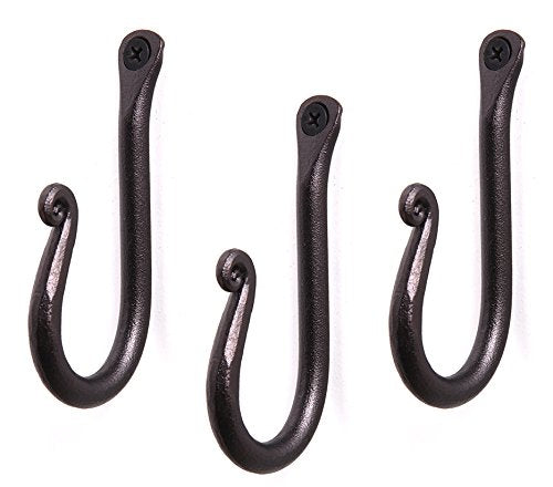 Handcrafted Wrought Iron Hook | Set of 3 | Decorative Black Hangers for Hanging Coat, Hat, Jacket, Robe, Bath Towel | Mug Hooks | Wall Mount J Hooks | Enjoy Spacy Home with RTZEN-Décor
