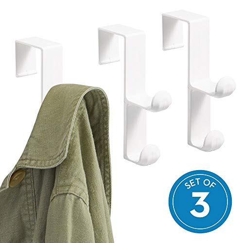 iDesign Over the Door Plastic Dual Hook Hanger for Coats, Jackets, Hats, Robes, Towels, Ideal for Bathroom, Bedroom, Mudroom, Set of 3, White