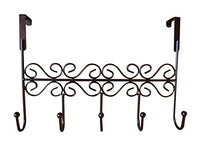 Dingang Over the Door 5 Brown Hanger Rack - Decorative Metal Hanger Holder for Home Office Use