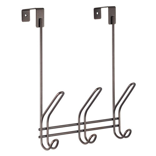 "iDesign Classico Metal Over the Door Organizer, 3-Hook Rack for Coats, Hats, Robes, Towels, Bedroom, Closet, and Bathroom, 5"" x 8.25"" x 12.5"" - Bronze"