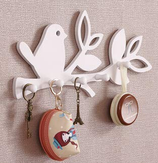 Culturemart Bird/Love DIY Wood Decorative Wall Hooks for Hanger Storage Rack Organizer Shelf Key Holder for Coat Clothes Home Decor