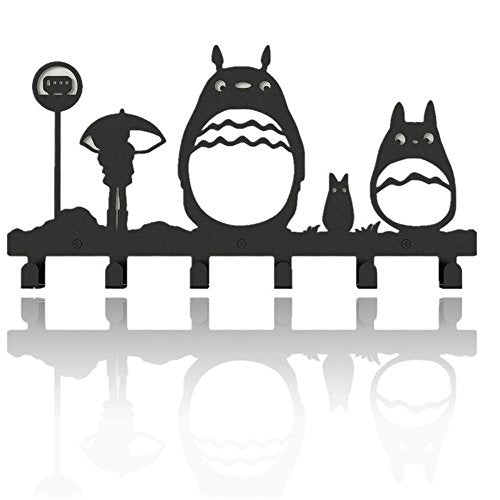 Animal Cat Girl Metal Wall Mounted Bag Hanger,6 Hooks Storage Rack Originality Clothing Hooks Sweet Black(Cute Totoro)