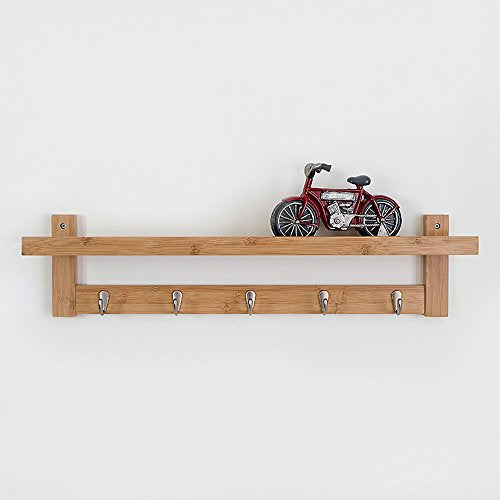 Coat Rack Bamboo Wall Mount Shelf Coat Hook Rack Unibody Construction with Alloy Hooks for Hallway Bedroom,Kitchen,Bathroom and Home Decoration,Natural,5Hook