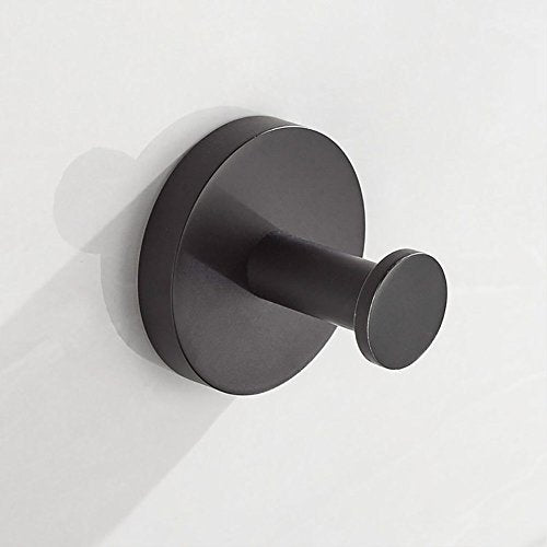 JYPHM Coat Hooks Wall Mounted Towel Hooks for Bathroom Kitchen Stainless Steel Wall Mounted Circular Style Black