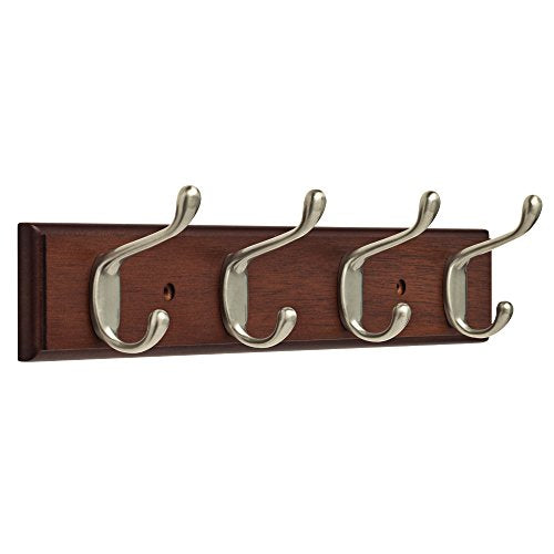 "Franklin Brass FBHDCH4-511-R, 16"" Hook Rail / Rack, with 4 Heavy Duty Coat and Hat Hooks, in Bark & Satin Nickel"