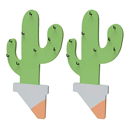 Exttlliy 2 Pcs Wooden Cute Cactus Coat Hook/Hat Hook/Keys Hook,for Kitchen Towel Hanging,Vestibule Key to Hang