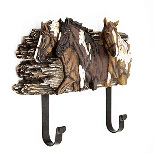 GEEKIA Wall Hanger with 2 Metal Hooks,3D Horse Heavy Duty Wall Mounted Coat Hook for Coat, Hats, Scarves, Towels