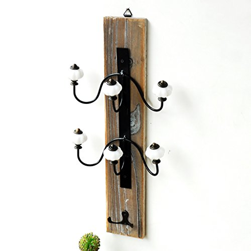 HSRG Coat Rack Coat Hat Hook Solid Wood Retro Distressed Wall Mount Wall Wooden Multiple Hooks Creative Home Entrance Hanging Ornament