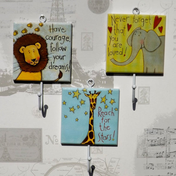 Set of three Childrens Zoo Coat Hooks - Lion, Giraffe,Elephant