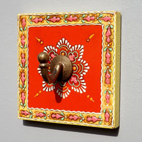 Colourful Hand painted square plaque Coat Hook, Red Centre