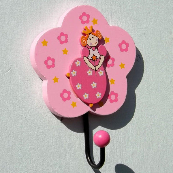 Hand Painted Flower Princess Wooden Girls Coat Hook
