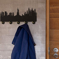 America New York Skyline Tourist Attraction Modern Household Decor Wall Hooks Bedroom Hanger Clothes Coat Hooks Hats Towel Hooks Keys Holder