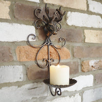 Rustic Bronze Metal Stag's Head Pillar Sconce