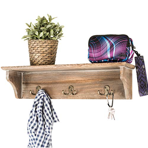 "Handcrafted Rustic Wooded Wall Mounted Hanging Entryway Shelf, 6 hooks. 24""x6"" Use as coat rack, hat organizer, key holder. Perfect for Entryway, Mudroom, Kitchen, Bathroom, Hallway, Foyer (Rustic)"