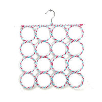 Holes Slots Belt 16 Tie Hook Organizer Holder Fashion Rattan Weave Shawl Scarf Neat Hangers Random Color