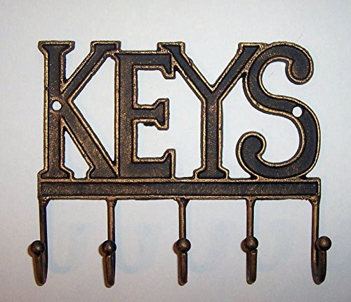 """ABC Products"" - 5 - Hook - Heavy Cast Iron Key Holder - With The Word ""KEYS"" At The Top - Balls On The End Of The Hooks - Wall Hung - (Antique Brass Finish - Use Indoor Or Outdoor)"