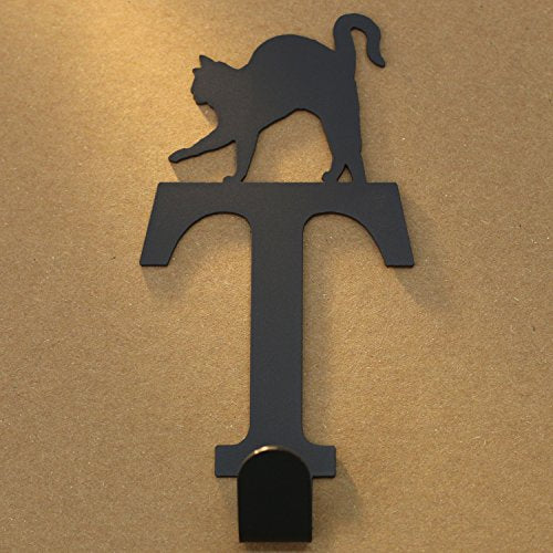 Cat Letter Metal Coat Hook, Door Hooks, Key Hooks, Wall Hangers, Jewelry Hooks Alphabet (T)