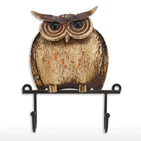 BetterHomePlus Metal Wall Hanger Organizer Iron Owl Bird 2 Hooks Coat Hat Scarf Key Holder Door Hallway Home Decoration
