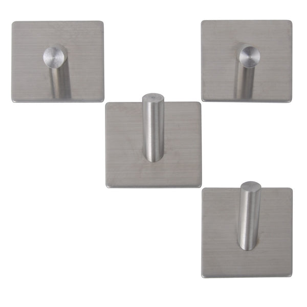 3M Self Adhesive Coat Hooks, Agile-Shop Heavy Duty 304 Stainless Steel Decorative Sticky Wall Mounted Hook Hats Keys Hooks for Bathroom Kitchen, Brushed Finish (4 pcs Single Hook)