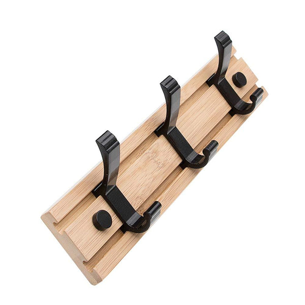 100% Natural Bamboo Coat Rack, Wall-Mounted Heavy Duty Movable Coat Hooks, Towel Bag Key Holder Hanger Hook Rack for Entryway Bedroom Bathroom (3 Hooks)