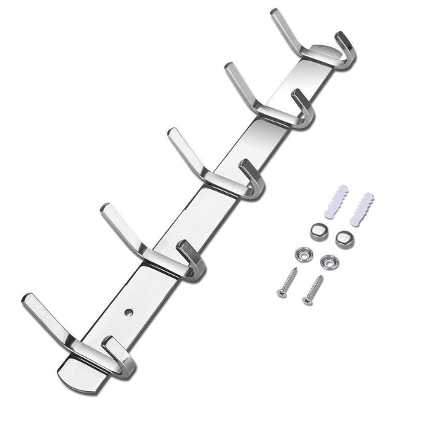 "HOMAID Wall Mounted Hook Rail 14"" Stainless Steel Hook Rack with 5 Dual Hanger Hooks, Pack of 2"