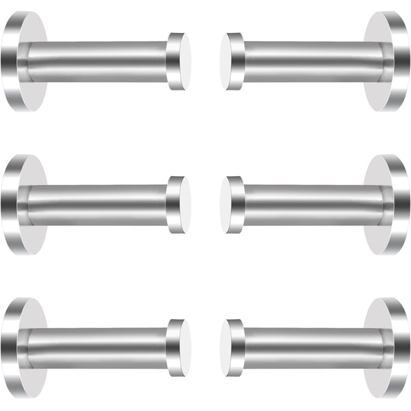 6 Pieces Stainless Steel Wall-Mount Robe Hook Coat Hook Towel Wall Hook, Brushed Nickel (2 Inch, Silver)