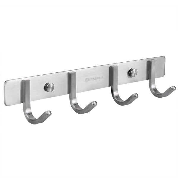 HOMEIDEAS Heavy Duty Coat Bath Towel Hook Hanger Rail Bar with 4 Hooks, for Bedroom, Bathroom, Foyers, Hallways, Entryway, Great Home Office Storage & Organization, SUS 304,11-Inch Brushed Finish