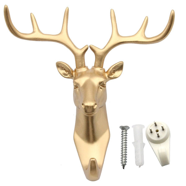 bouti1583 Single Deer Head Antlers Wall Hanger Coat Hat Hook Animal Shaped Decorative Gift Gold