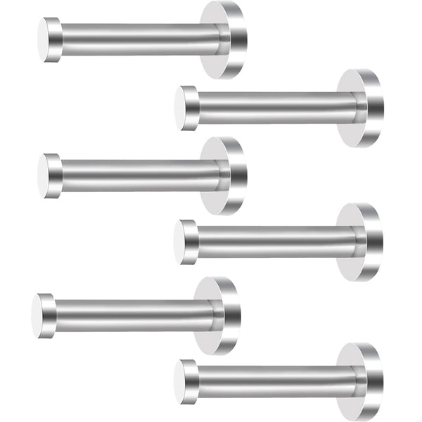 6 Pieces Stainless Steel Wall-Mount Robe Hook Coat Hook Towel Wall Hook, Brushed Nickel (4 Inch, Silver)