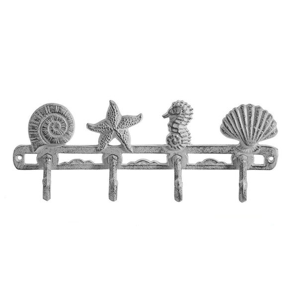 Comfify Vintage Seashell Coat Hook Hanger Rustic Cast Iron Wall Hanger w/ 4 Decorative Hooks | Includes Screws and Anchors