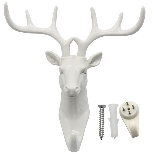 bouti1583 Single Deer Head Antlers Wall Hanger Coat Hat Hook Animal Shaped Decorative Gift White
