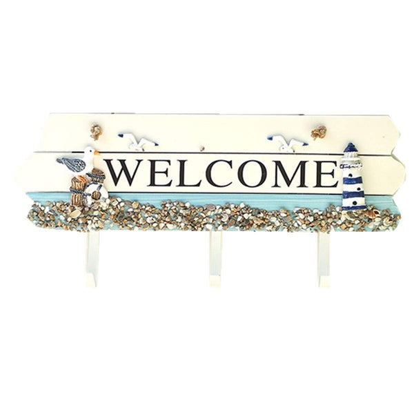 B&S FEEL Nautical Design Blue & White Welcome Board Coat Hooks Hanger Rack Home Decor (Lighthouse and seabirds)