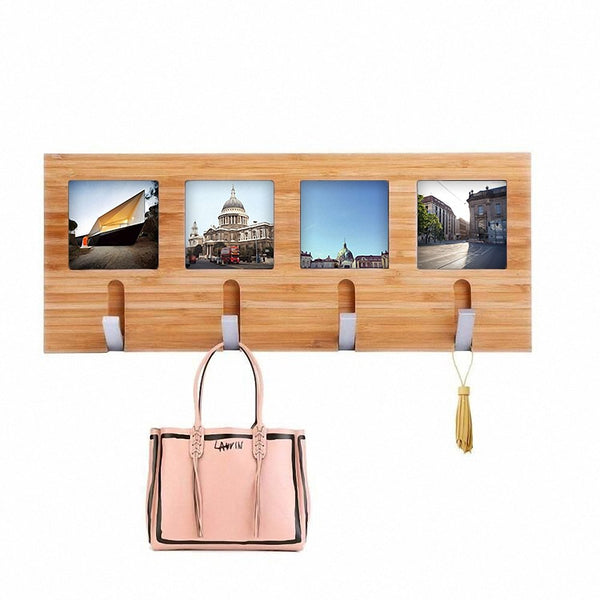 Genenic Bamboo Wall Coat Racks Hooks Hanger Wall Mount Photo Frame Entryway Bedroom Home Decoration (4 Hooks)