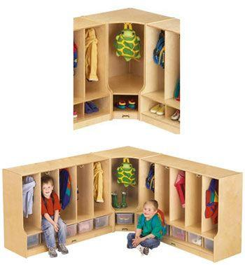 #1668 Jonti-Craft¨ Toddler Corner Coat Locker W/Step Without Tray