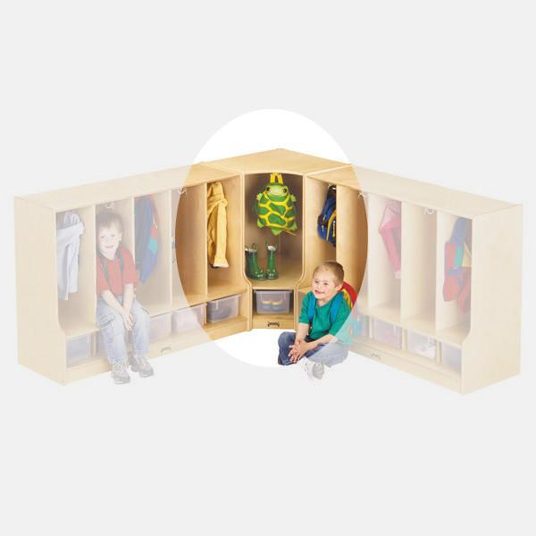 #1670 Jonti-Craft¨ Toddler Corner Coat Locker W/Step With Clear Tray