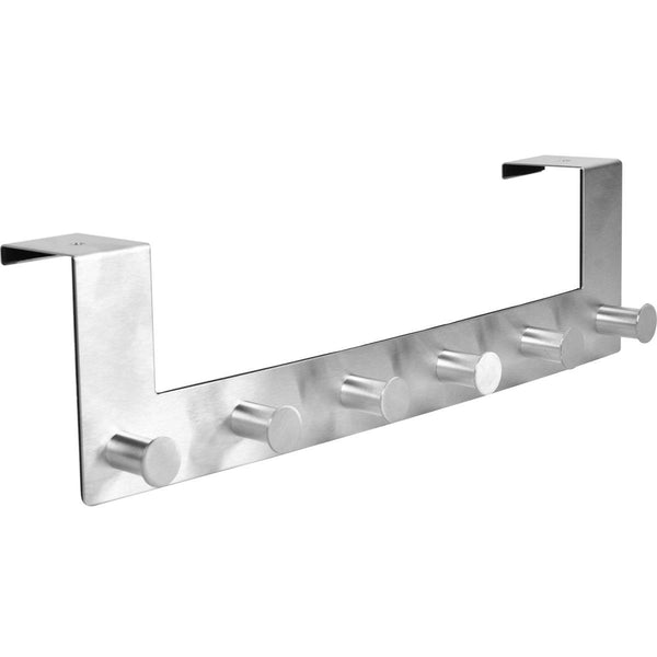 iGadgitz Home U7082 6 Over Door Hooks Stainless Steel Over the Door Hanger Storage Door Rack -Silver