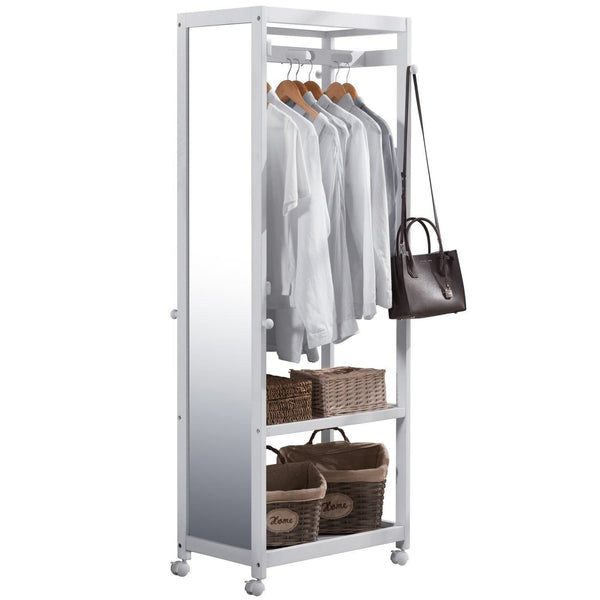Free Standing Armoire Wardrobe Closet with Full Length Mirror, 67'' Tall Wooden Closet Storage Wardrobe with Brake Wheels,Hanger Rod,Coat Hooks,Entryway Storage Shelves Organizer-Ivory White