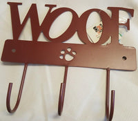 DEI Pawprint Leash or Coat Hook, Woof, Choice of Color
