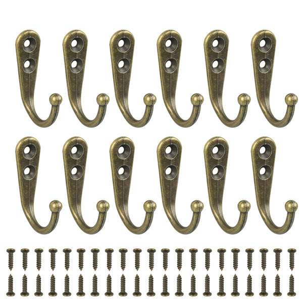 24 Pack Wall Mounted Coat Hooks Hanger Holder Bronze for Wall Vintage Decorative Single Robe Hooks with 50pcs Screws (Bronze)