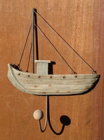 Single Hook rustic wood Sailing boat