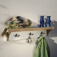 Natural Teak & White Painted Shelf  Coat Rack, Three hooks